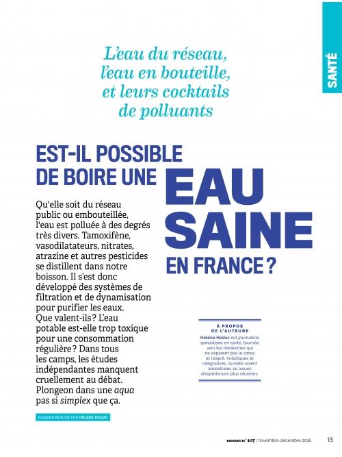 NEX107 Est-il possible de boire une eau saine en France