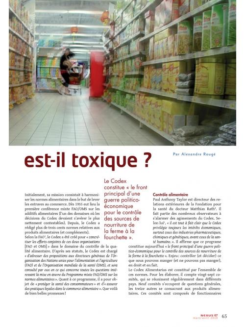 NEX067-Le Codex Alimentarius est-il toxique ?