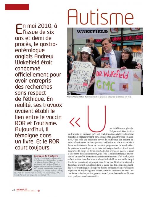 NEX072-Autisme Wakefield persiste et signe