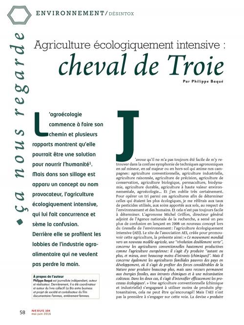 NEX104 Agriculture écologiquement intensive cheval de Troie de l'agrochimie
