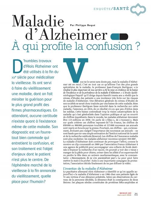 NEX103 Maladie Alzheimer a qui profite la confusion