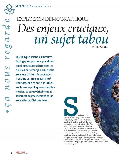 NEX105 Explosion démographique : des enjeux cruciaux, un sujet tabou