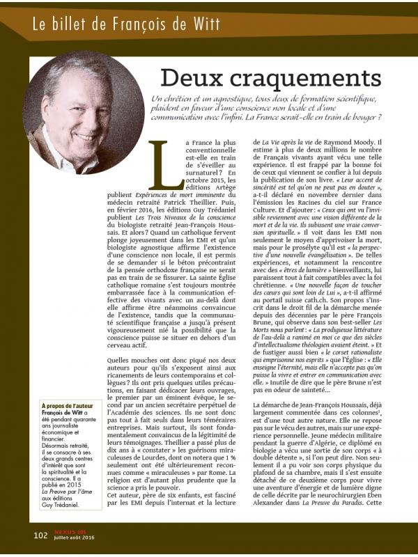 NEX105 François de Witt : deux craquements dans la pensée dominante