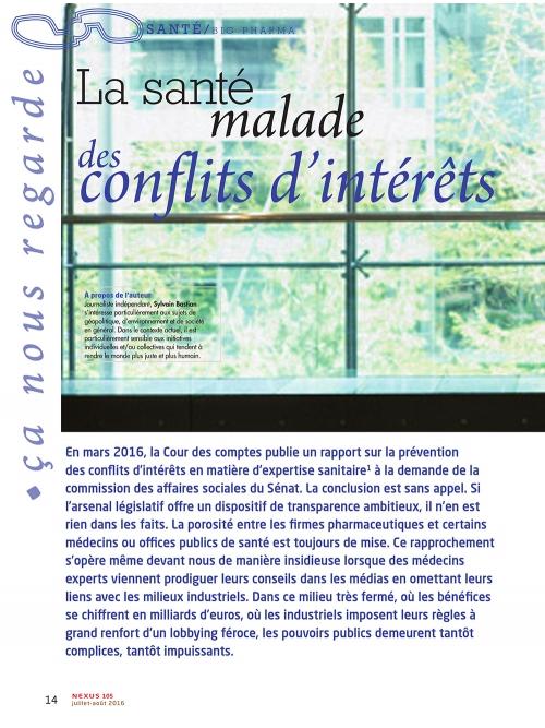 NEX105 Lasanté malade des conflits d'intérêts