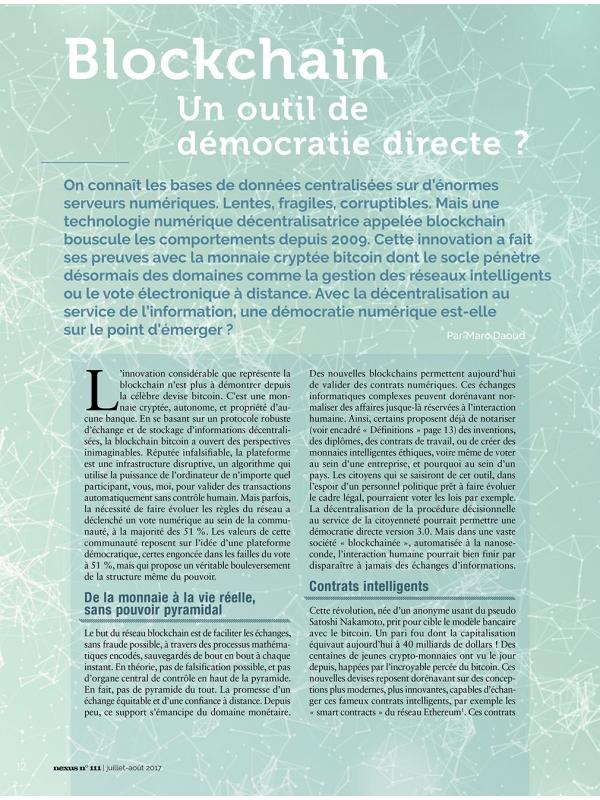 NEX111 Blockchain un outil de démocratie directe