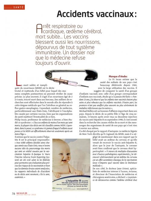 NEX066-Accidents vaccinaux les bébés en première ligne