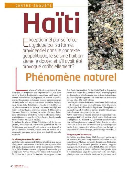 NEX067-Haïti le séisme sème le doute